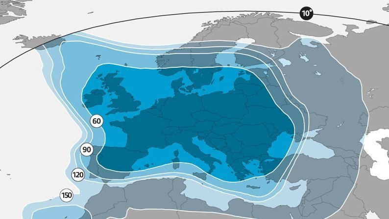 Footprint bereik Astra 3B 23.5 graden