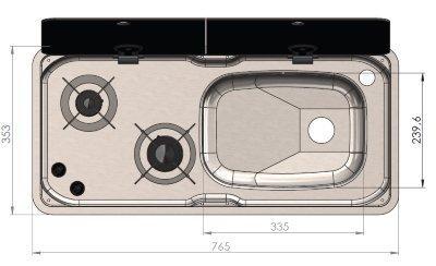 FL1765 gascomfort maten bovenaanzicht